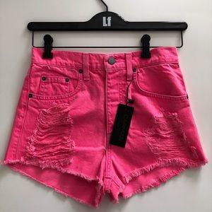 LF Shredded Vintage Pink Denim Shorts